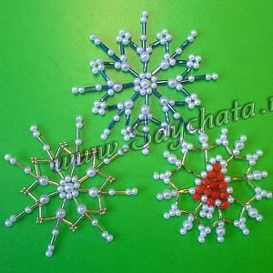 Снежинки от перли и мъниста