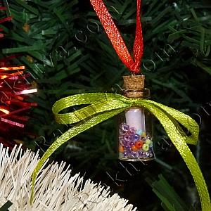 Вълшебна украса за елха – шишенце с късметчета