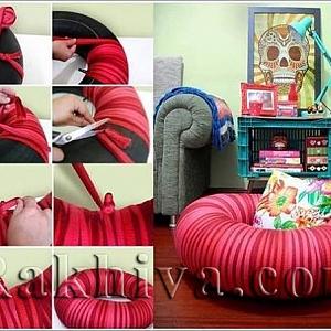 Идея за дома: как се прави декоративна възглавница от стара гума и панделки