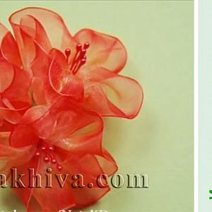 Как се правят красиви цветя от панделка органза