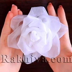 Как се прави роза от органзена панделка