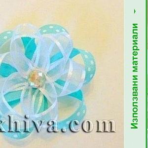 Как се прави цвете от панделка органзена и сатенена панделка с точки
