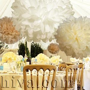 Хартиени топки от тишу за сватбена декорация