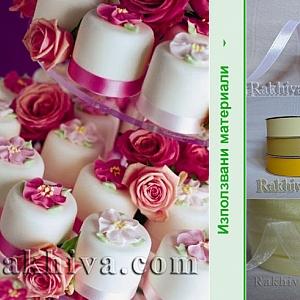 Идеи за декорация на сватбена торта от малки кексчета