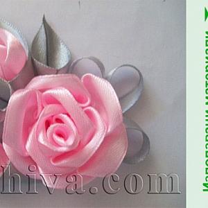 Как се прави брошка – роза от широка сатенена панделка