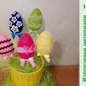 Идеи за направи си сам – великденска декорация с яйца от филц, панделка и дантела