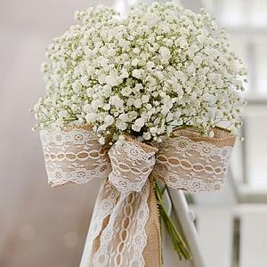 Идеи за декорация с лен, дантела и зебло за сватбено тържество