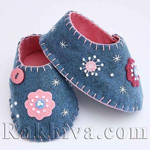 Как се правят бебешки обувки от филц