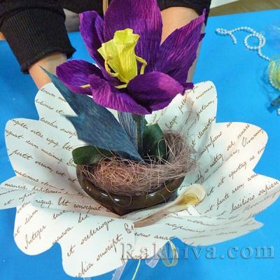 Как се прави украса за първа пролет – цвете от креп хартия