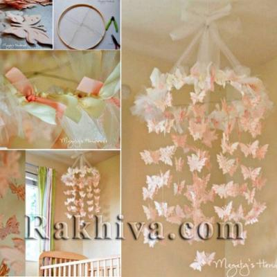 Свежа идея за украса на дома: как се прави абажур от пеперуди