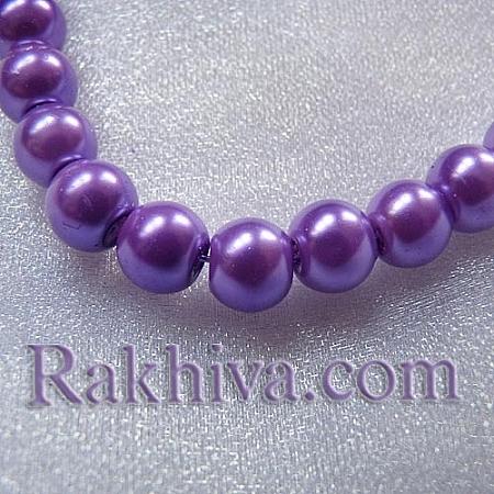 Перли (изкуствени) за изработка на бижута, за декорация, за украса - тъмно лилаво, 4mm/ 216бр. (1 наниз HY-4D-B75)