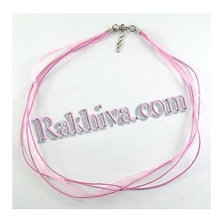 Връзка - колие органза със закопчалка, розово NFS048-14 / FIND-R001-6 (1 бр.)