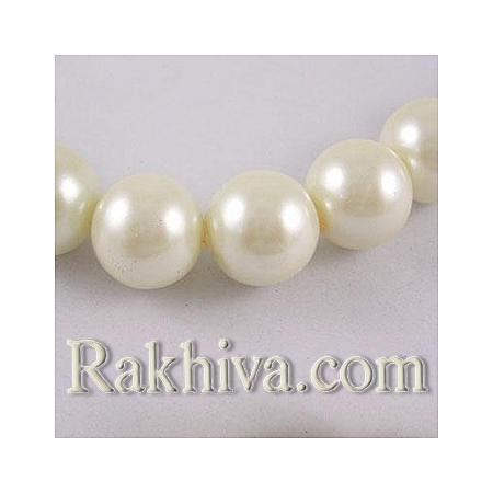 Перли (изкуствени) за изработка на бижута, за декорация - бяло , 4mm/ 216бр. (1 наниз HY-4D-B01/ HY4mm51)