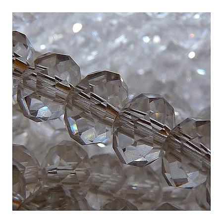 Сваровски кристални,  ръчна изработка (имитация) 6мм х 4 мм, бяло 3 мм/ 4 мм/ 150бр  (GLAA-R029-4mm-10A)