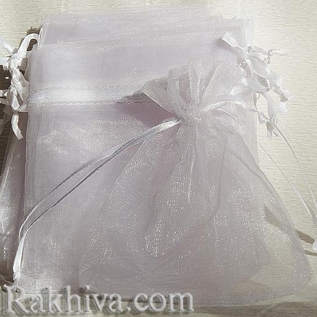 Торбички от органза бяло, 5 см/7 см, (5/7/8210-1)