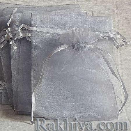 Торбички от органза сребро, 7cm/ 9cm, (7/9/84300)