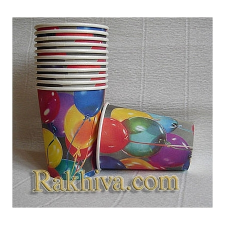 Хартиени чашки за парти  Парти с балони, чашки за парти/ 8 бр.(64500)