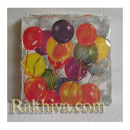 Салфетки за парти  Парти с балони, Луксозни салфетки (16бр.) (64502)