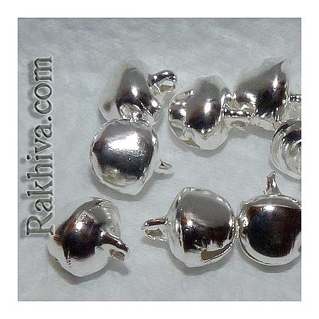 Звънчета - сребърни (за бижута, за изработка на полички туту), 50 бр. (IFIN-E198-S)