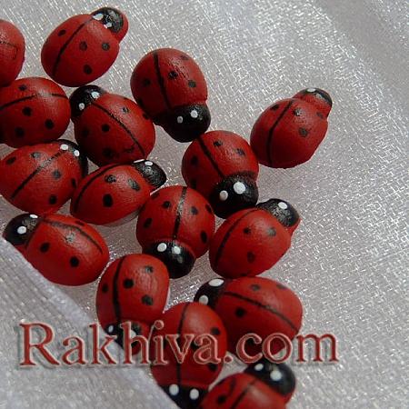 Калинки за декорация и за букети - дървени калинки за залепяне, 10 мм/ 20 бр (малки)