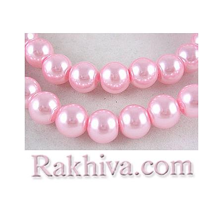 Перли (изкуствени) за изработка на бижута, за декорация, за украса - розово, 4mm/ 216бр. (1 наниз HY4mm58)