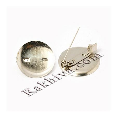 Метална закопчалка, кръгла - цвят сребро (секретна игла), 10 бр. (IFIN-E724-20mm-P)