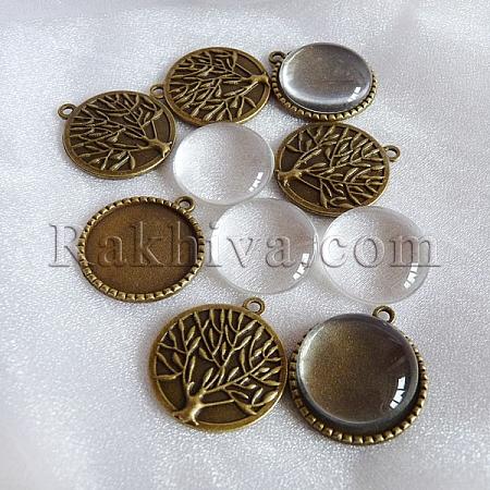 Медальон - Направи си сам (комплект) - без наличие на никел и олово, 1 коплект (цвят бронз) KK-X0024-NR