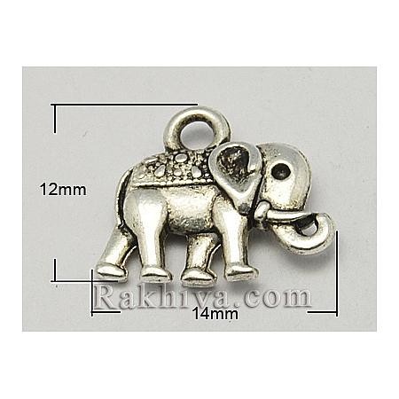 Слончета цвят старо сребро, стил Винтидж, 10бр (PALLOY-ZN-47017-AS-FF)