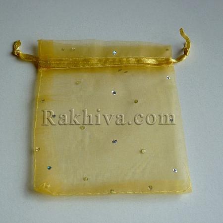Торбички от органза злато с брокат, 10 см/ 12 см, (10/12/82200)
