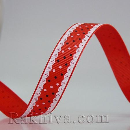 Панделка сатен - релефен сатен 111, 15 мм/ 9 м (червено) (15/9/370/154/029)