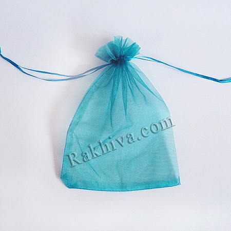 Торбички от органза тюркоаз, 7 см/9 см, (7/9/8457)