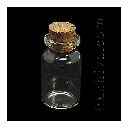 Стъклени шишенца за съхранение на мъниста, за изработка на талисманчета, 1 бр (CON-E008-55x27mm)