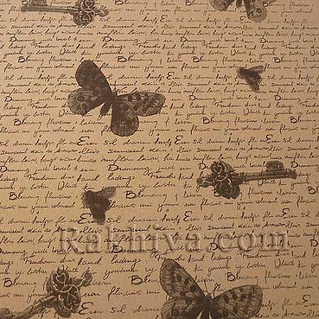 Крафт хартия за букети и опаковане Пеперуди листи, 53 см/ 70 см; 20 бр., черно
