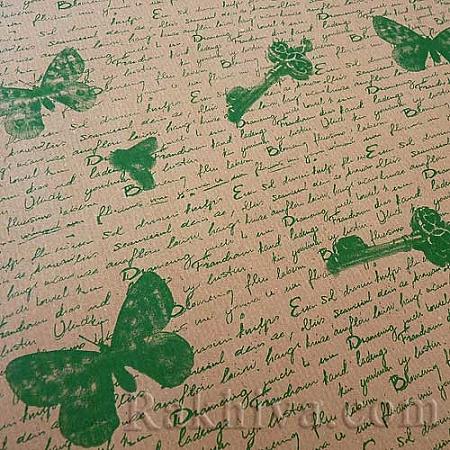 Крафт хартия за букети и опаковане Пеперуди, 53 см/ 70 см; 20 бр., зелено