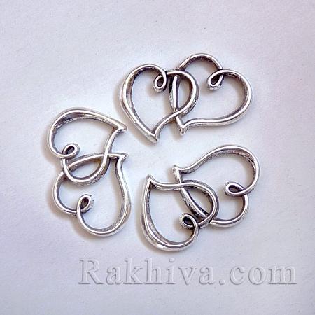Сърца - цвят сребро, 1бр (LF10232Y)