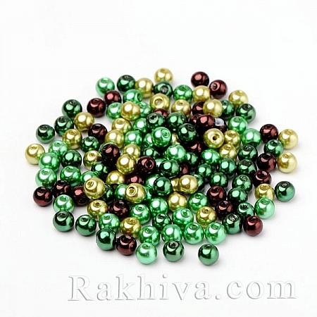 Перли (изкуствени) - МИКС зелено, МИКС зелено HY-X006-6mm-04 (50 бр.)