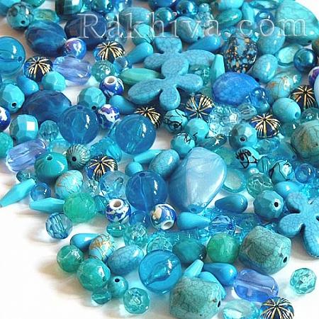 Микс елементи за бижута, МИКС синьо, 15 г (SACR-S756-17)