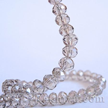 Сваровски кристални, ръчна изработка (имитация), сребро 6мм/4мм (G02YI0P1)