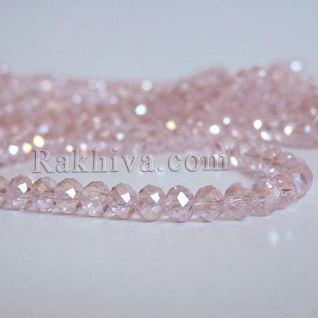 Кристални мъниста, ръчна изработка (стъклени), розово (EGLA-D020-6x4mm-32)