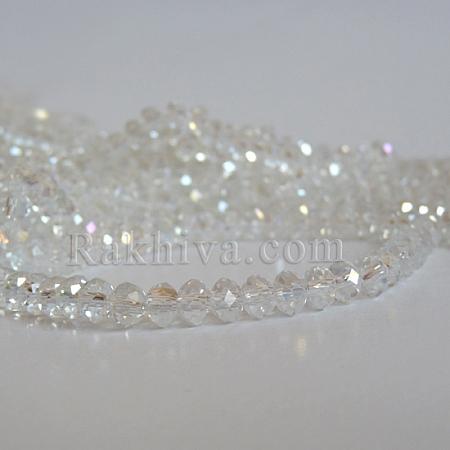 Кристални мъниста, ръчна изработка (стъклени), бяло (EGLA-D020-6x4mm-01)