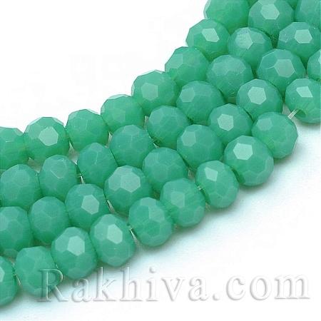 Кристални мъниста, непрозрачни, морско зелено (GLAA-R166-4mm-02H)