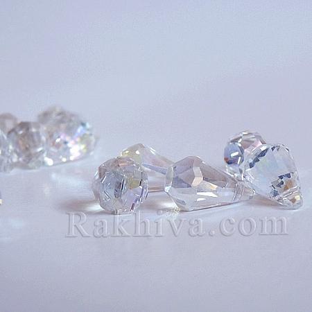 Кристални мъниста (стъклени) Диамант, 1 брой, бяло (EGLA-N0001-32A-B01)
