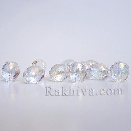 Кристални мъниста (стъклени) Диамант елипса, 1 брой/ бяло (EGLA-N0001-39-D01)