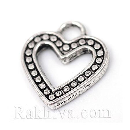 Сърца цвят ретро сребро, 20бр. (TIBE-R309-10AS-NR)