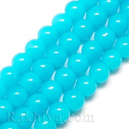 """Стъклени мъниста """"Нефрит"""", нефрит св.синьо (GR6mm68Y)"""