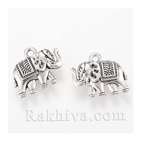 Слончета цвят старо сребро, стил Винтидж 1 бр., 1 бр. (TIBEP-Q064-41AS-RS)