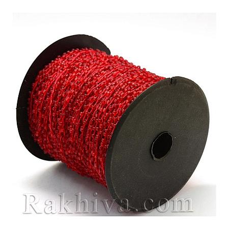 Мъниста, наниз, 3м, огнено червено (OCOR-R039-C05)