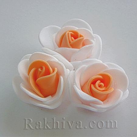 Силиконови розички , бяло и праскова (3,5 см/ 10 бр.)