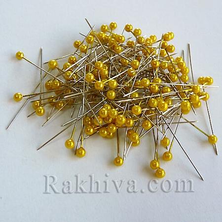 Игли с перли  OASIS цвят жълто, 1 кутия жълто (144 бр.)
