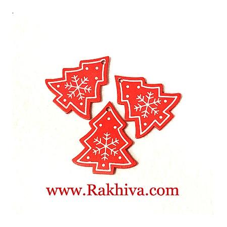 Коледни дървени елхички, елхички 5бр, червено (67464)